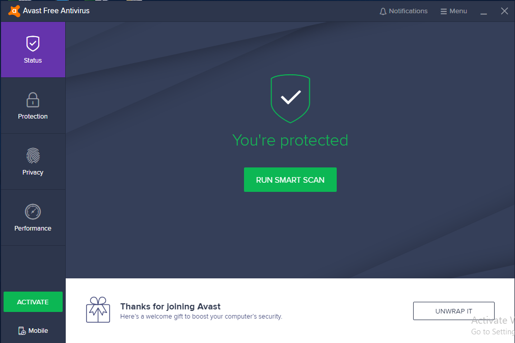 avast first screen