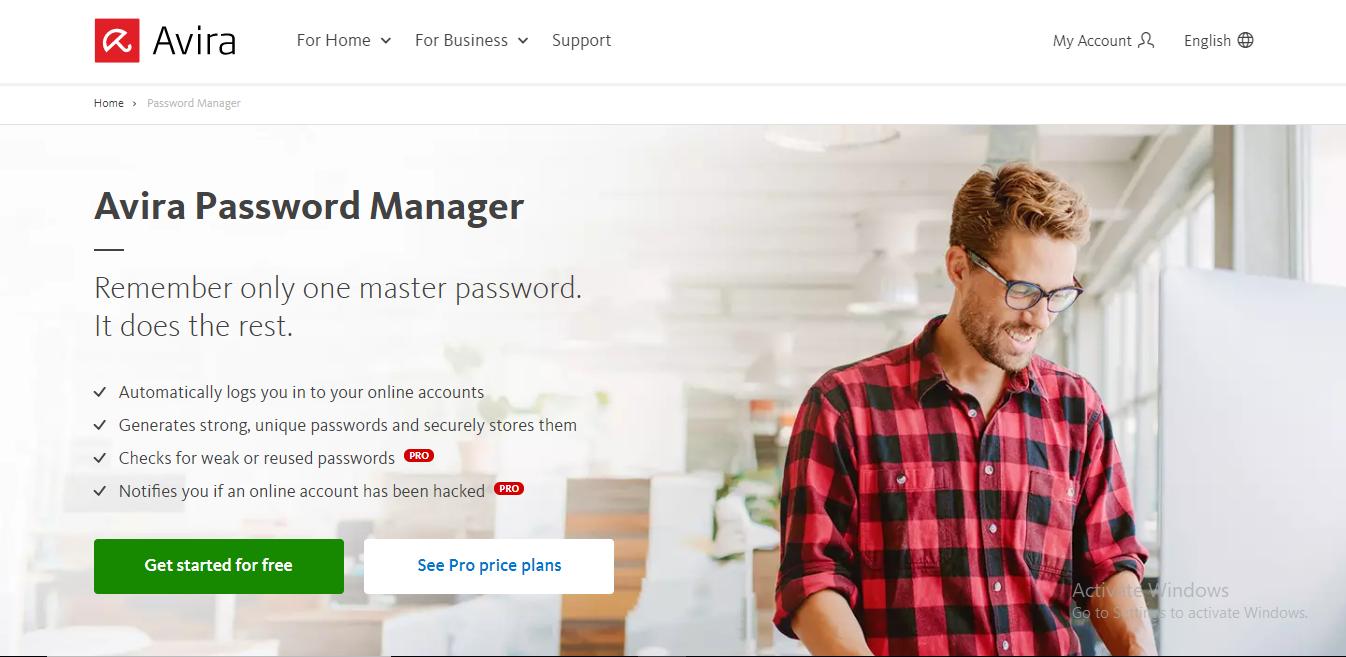 avira password manager hompepage
