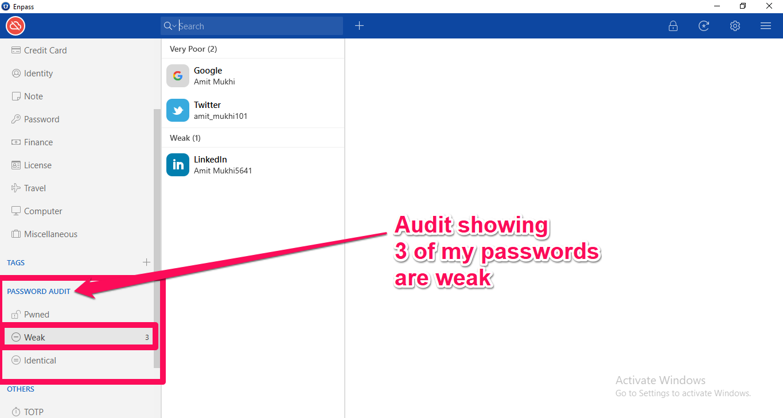 enpass password audit