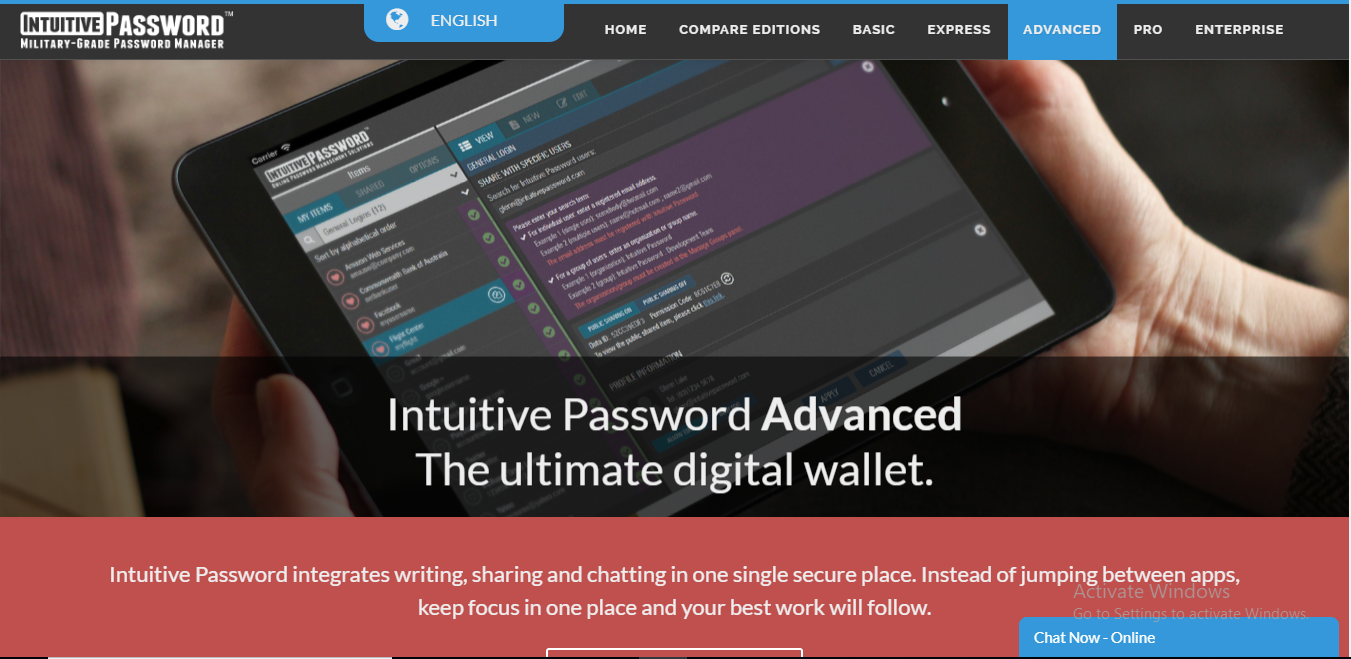 intuitive password homepage