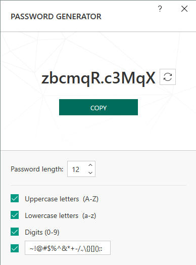 kasperskey generate password1