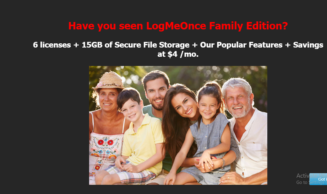 logmeonce family pricing