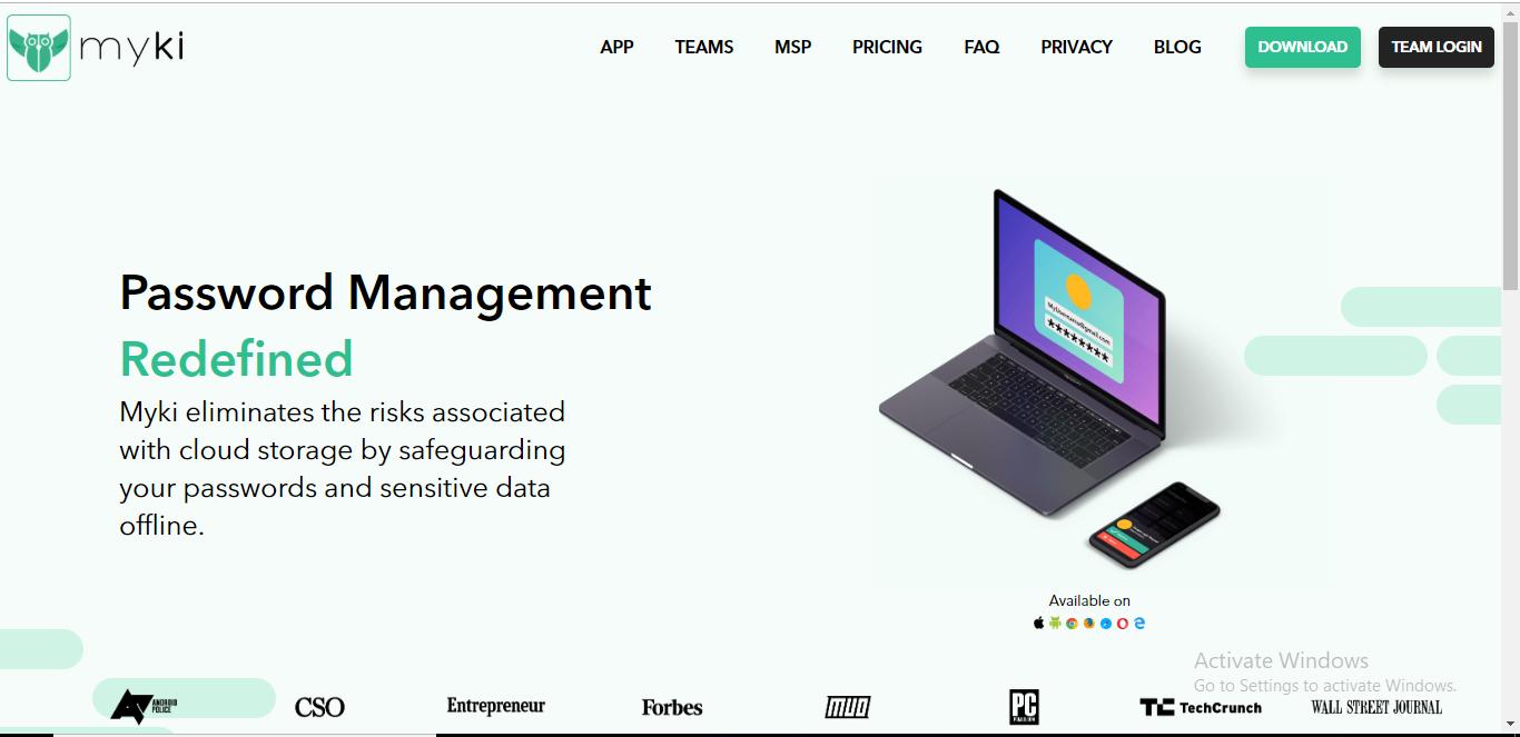 myki password homepage
