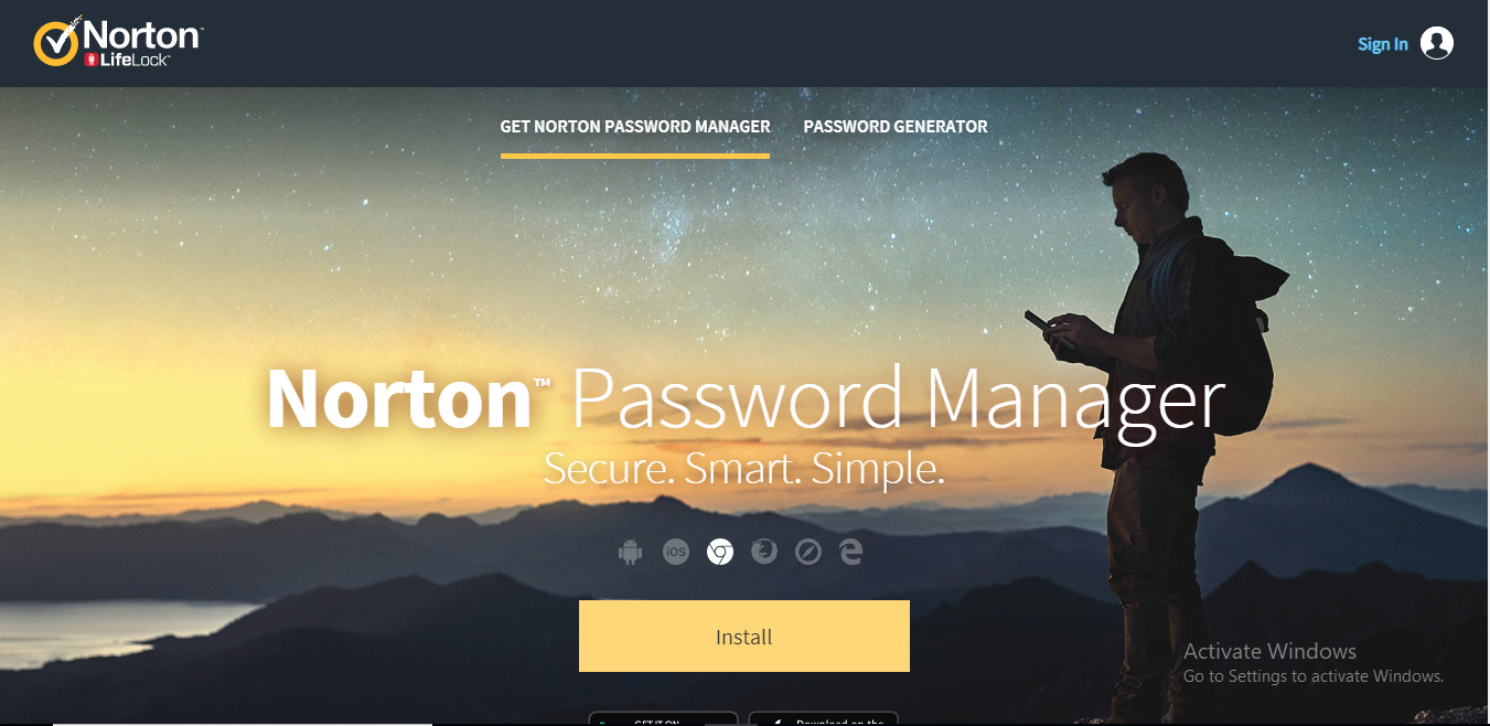 norton password manager homepage