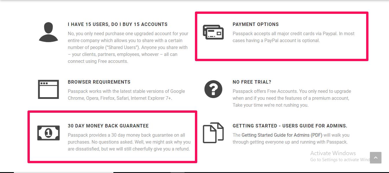 passpack payment methods