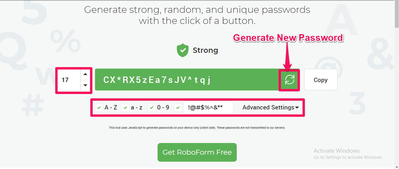 roboform password generator