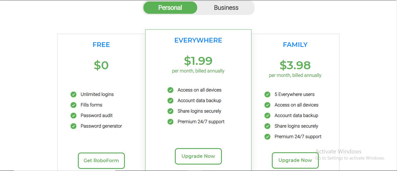 roboform personal pricing