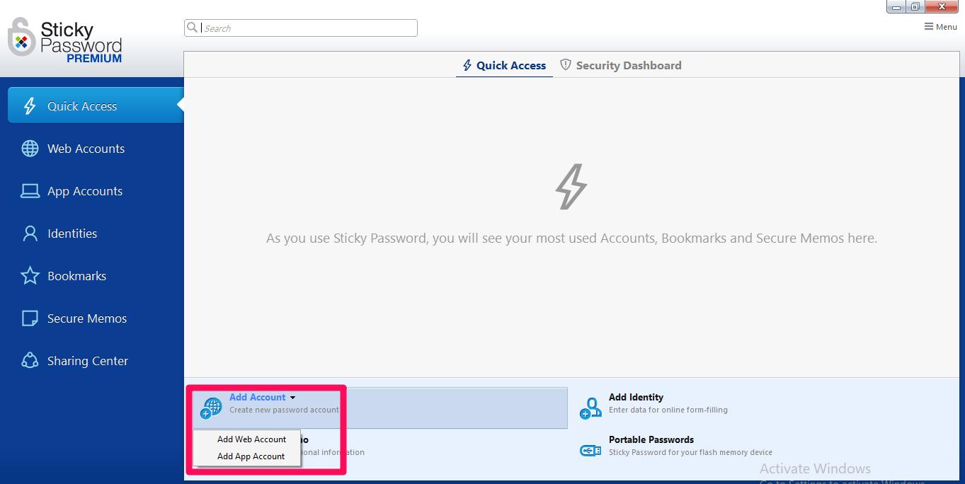 sticky password interface