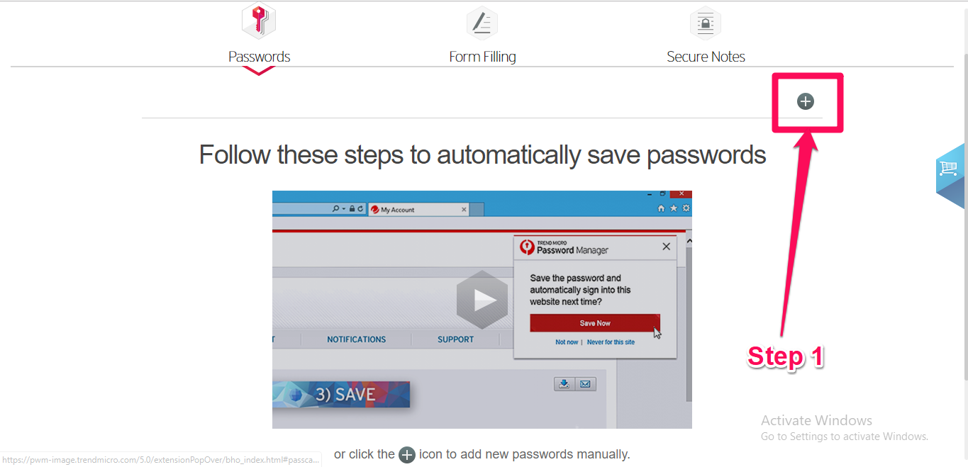 trend micro save password