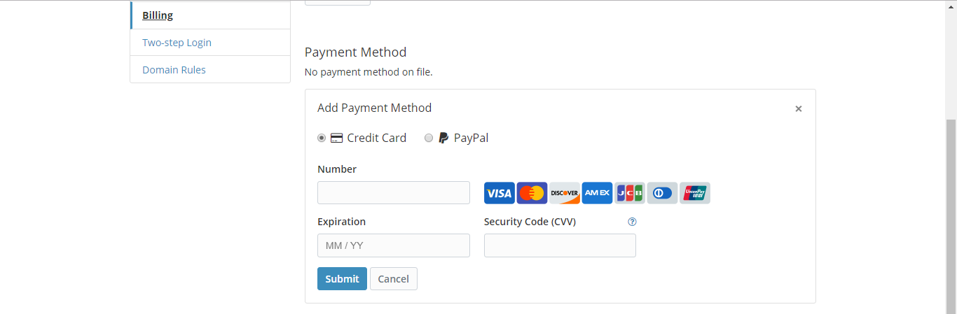 bitwarden payment method