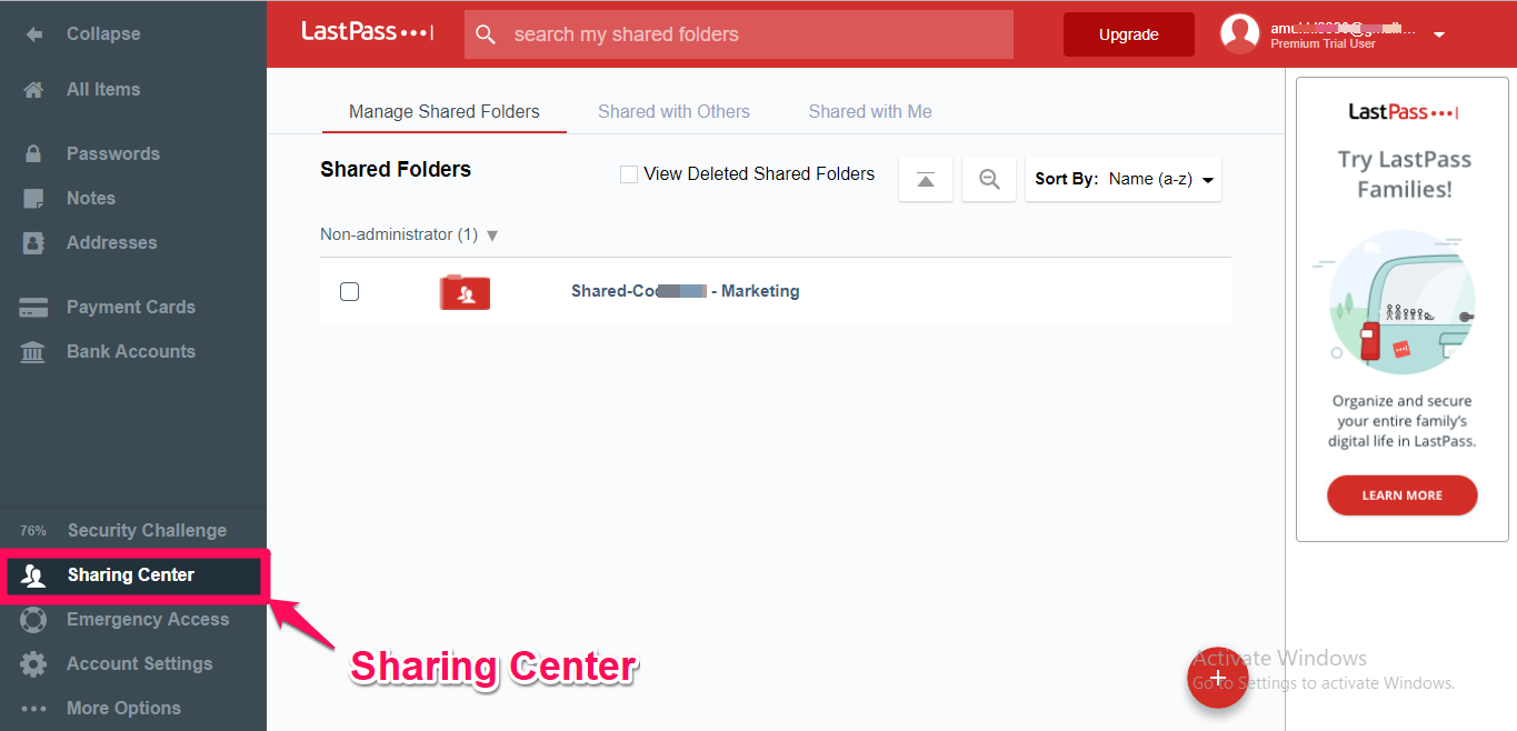 lastpass sharing center