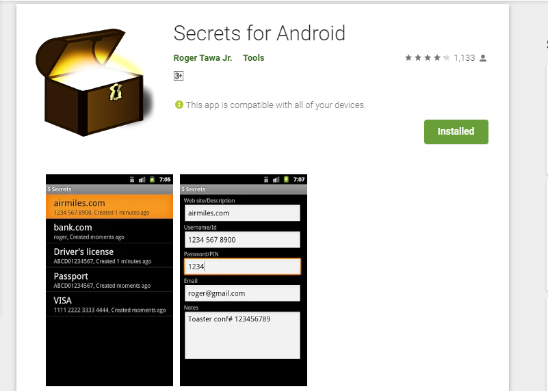 secrets for android homepage