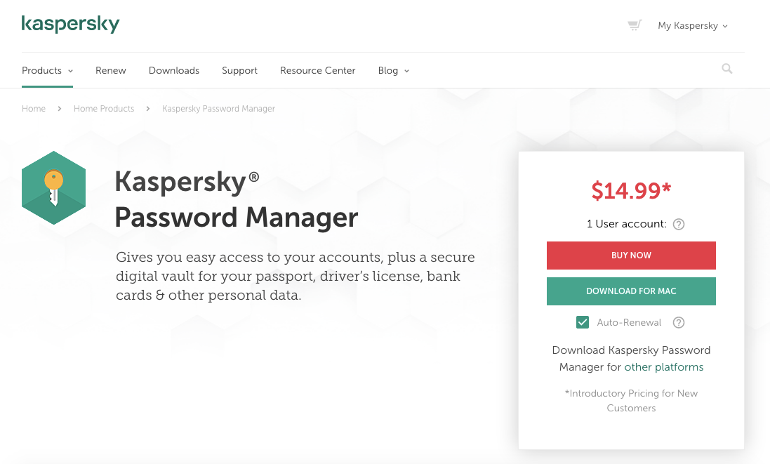 Kaspersky Password Manager Homepage