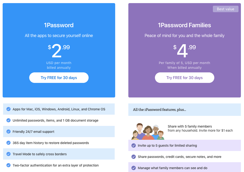 1Password Pricing and Plans