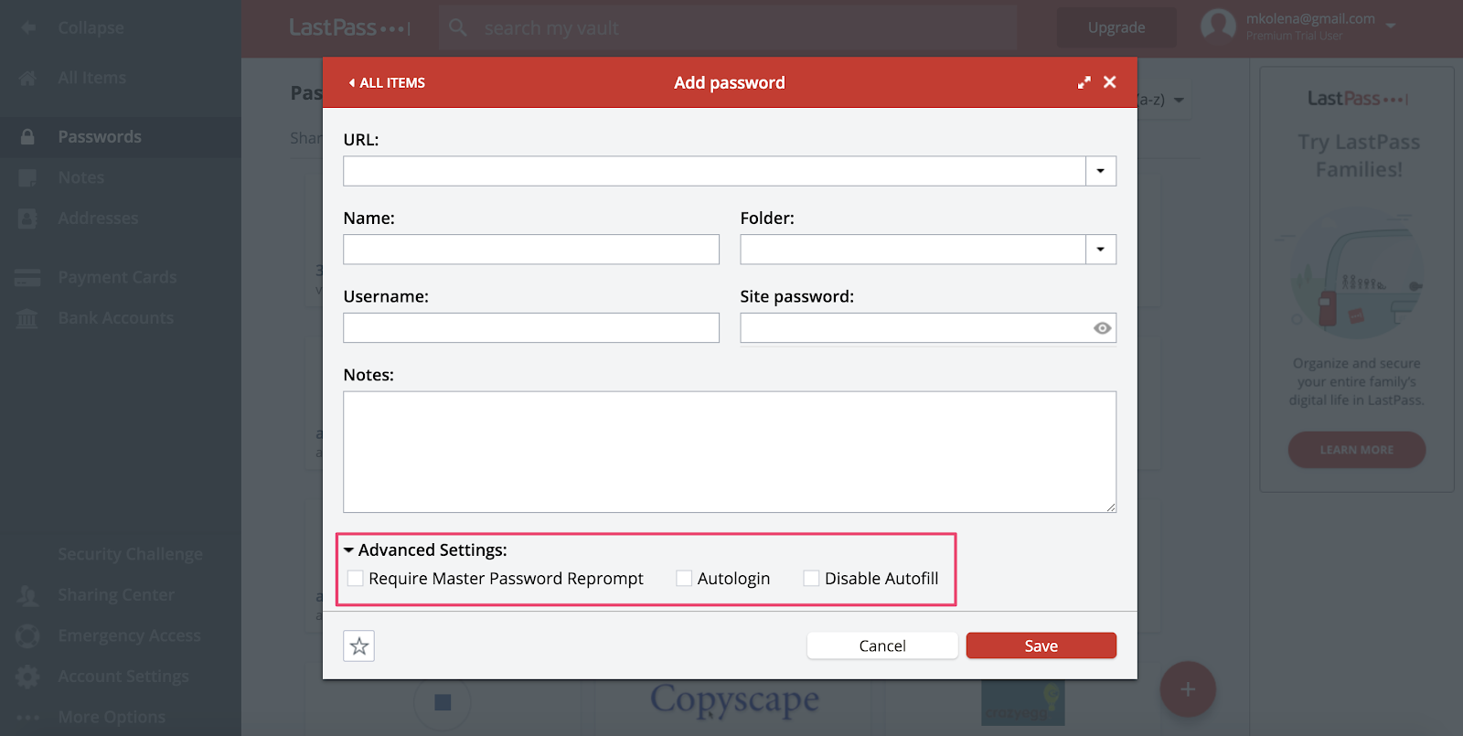 LastPass password manager advanced settings
