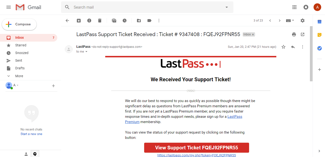 LastPass support ticket email